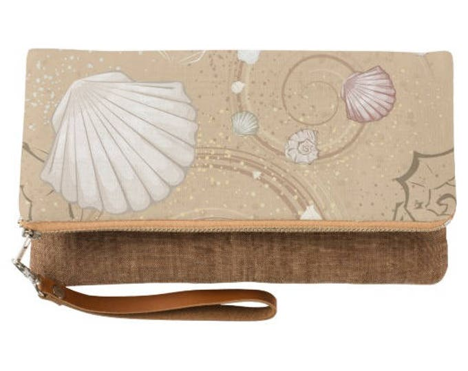 Shells on the Beach Fold Over Clutch