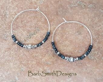 """Beaded Black and Silver Hoop Earrings, Large 1 3/8"""" Diameter in Black Marble"""
