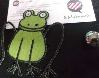 1 applique frog decor textile height 7cm