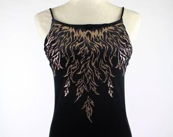 90's Black Velvet Gold Flame Gown