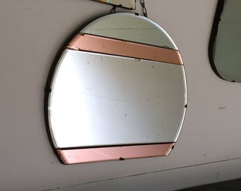 wall mirror frameless mirror art deco mirror vanity mirror large antique round oval mirror etched mirror beveled edge colored glass pink