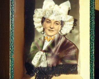 Decorative frame - original and retro postcard laces and fabrics - traditional Costume - gift