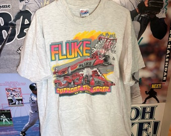 Vintage Drag Racing Fluke T shirt Neon 90's colors Mens X Large
