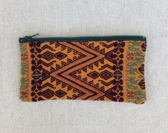 Colourful Zippered Pouch made from a Hand Woven Oaxacan Textile - #102