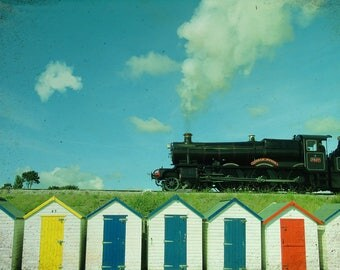 Steam Train Beach Huts Colourful Photography, Colored Huts, yellow,  red blue sky Landscape Beach Print, Beach House Decor