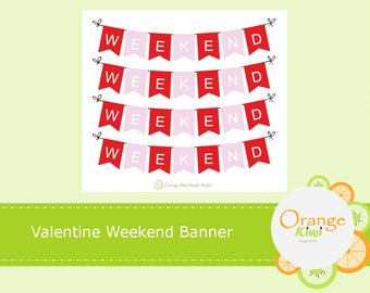 Valentine Weekend Banner Stickers, Red and Pink Stickers, Planner Stickers, Valentine's Day, Erin Condren Life Planner