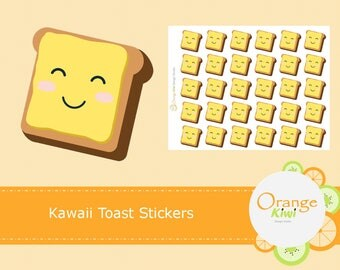 Kawaii Toast Stickers, Breakfast Stickers, Planner Stickers, Erin Condren Life Planner