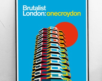 Brutalist London : No 1 Croydon. Illustrated Poster Art Print. Matte and Giclee prints. Architecture Prints of London. Wall art.