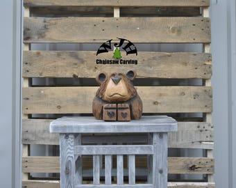 Chainsaw Carved Bear Cub (Finnigan)