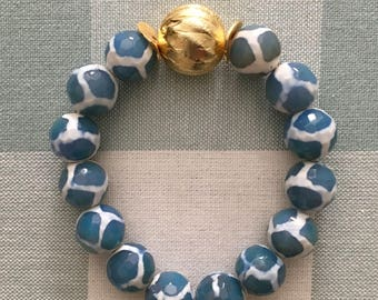 Blue and White Beaded Bracelet | spots, spotted, gold