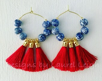Chinoiserie Tassel Hoop Earrings | RED, blue and white, hoops, gold, Designs by Laurel Leigh