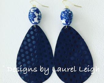 NAVY BLUE Polka Dot Chinoiserie Earrings | statement earrings, gold, blue and white, leather, lightweight
