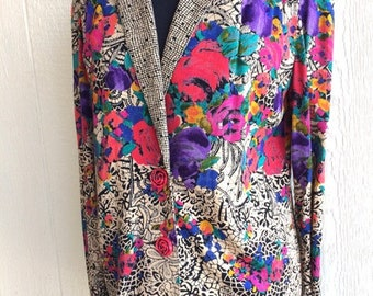 Size 6 Carol Little petites collectible vintage blazer top lightweight rayon fabric 1970s career girl