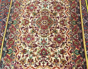 Bright flowered rug 100%wool floral pattern rug red green pink and yellow color warm vintage old rug big retro suitable for home&restaurant.