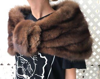 Brown women's fur bolero from real sable fur rare expensive fur soft fur fluted design old bolero festive look vintage has size-universal.