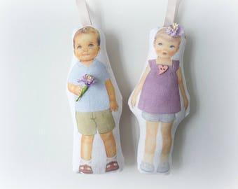 fashion paper doll paper Oscar and Nasturtium doll cloth doll