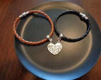 2 Leather Braided Bracelets with Best/Friends Charms