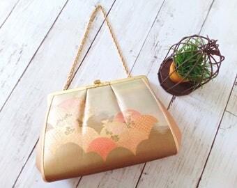 Vintage Japanese Kimono Clutch, Japanese Floral Bag, Vintage Bag, Vintage Bag, Japanese Brocade Bag, Vintage Clutch, Evening Clutch, JA002VB