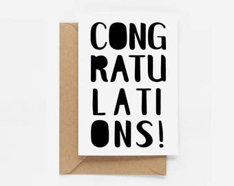 Typographic Congratulations Greeting Card