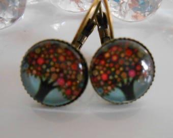 """""""Fruit tree"""" Stud Earrings cabochon glass"""