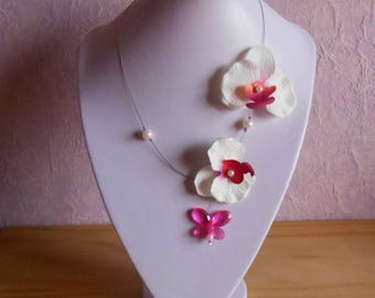 Necklace fuchsia Orchid and white garden wedding