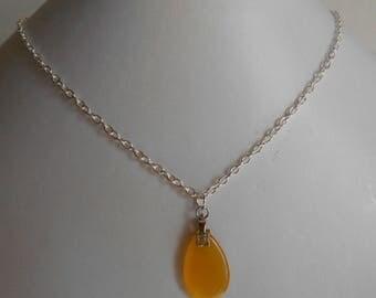Minimalist Necklace dark yellow glass Teardrop