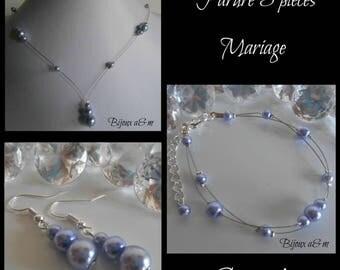 Set of 3 wedding pieces Lavender Pearl cascade