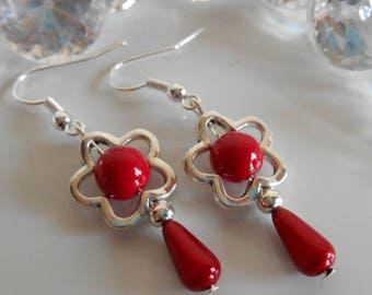 "Dangling ""Spring""red flower earrings"