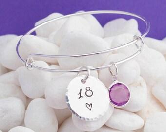 18th birthday gift, 18th birthday, adjustable bangle, birthstone jewelry, birthday bracelet, keepsake, gift for daughter, granddaughter gift