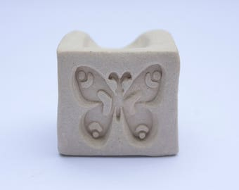 Pottery stamps, set of 2 clay stamps, handmade ceramic stamps, polymer clay stamps, flower stamp, butterfly stamp, pottery texture tool