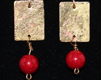 Etched and fire colored brass earrings. (061616-029)
