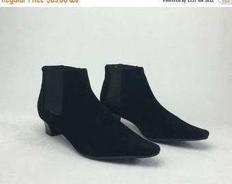 SUMMER33OFF Vintage 90's Black Suede Minimalist Pointed Toe Chelsea Ankle Boots Shoes US 7 1/2