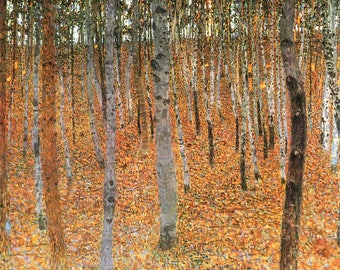 Forest of Beech Trees by Gustav Klimt - Poster A3 or A4 Matt, Glossy or Art Canvas Paper