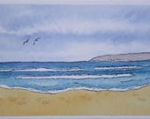 Ocean Beach  ACEO Original Watercolor Painting Seascape Water Abstract Small Miniature Paintings Tiny Painting 2 1/2 x 3 1/2 Trading Cards
