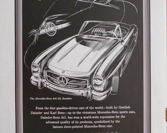 1958 Mercedes Benz 300 SL Roadster ad.  Mercedes Benz 300 SL Roadster ad.  1958 Mercedes Benz ad.  Studebaker-Packard Corp.