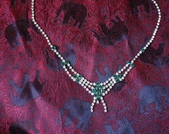 Vintage Emerald and White Rhinestone Necklace or Choker