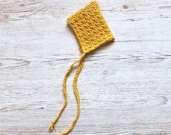Pixie Bonnet, Pixie Hat, Baby Bonnet, Baby Hat, Newborn Bonnet, Traditional Baby Clothes, Mustard Bonnet, Bonnet, Blue Bunny Boutique