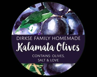 Customized Label for Olives - Watercolor Style Canning Jar Label - Wide Mouth & Regular Mouth - Watercolor Kalamata Black Canning Label