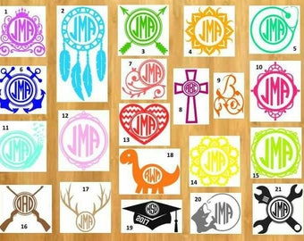 Monogram decal, personalize, car decal, laptop decal, name decal