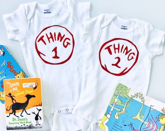 Thing 1 Thing 2, Twin Boys, Twin Girls, Baby Bodysuit, Best Friends, Dr Suess Baby Shower, Going Home Outfit for Twins, Dr Suess