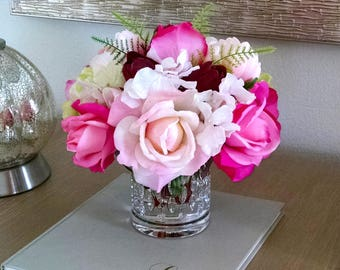 Pink Flowers Arrangement-Pink Real Touch Flowers Peonies and Roses-Faux Floral Arrangement-Flower Arrangement-Pink Flowers