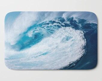 Blue Bath Mat Sea Wave Ocean Theme Surfer Vibe Beach Decor