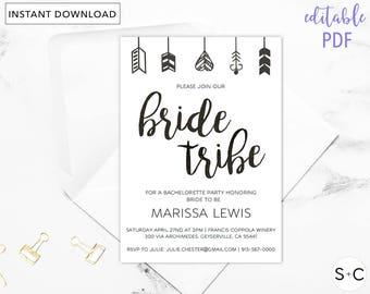 Bride Tribe Bachelorette Invitation, Bachelorette party invitation Template, Bachelorette party invitation,