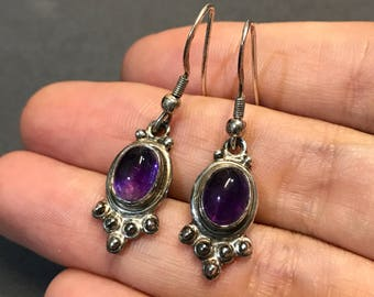 Vintage Sterling silver handmade earrings, taxco 925 silver with oval cut amethyst and beads details, dangle, stamped 925