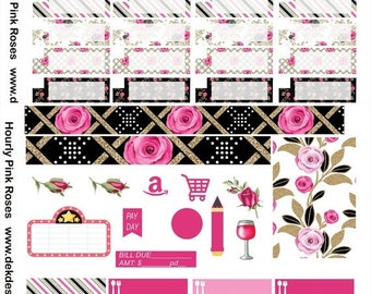 40% Off Sale Erin Condren Hourly Pink Roses on 2 sheets