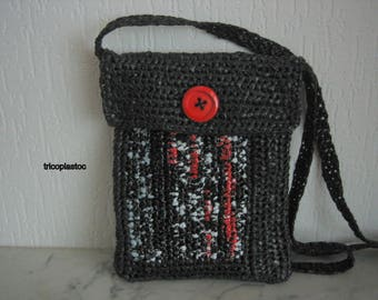 Recycled hand crocheted shoulder bag handbag, Heather black/white/red