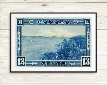 P031 Poster art, Halifax Harbour, Halifax Nova Scotia, Nova Scotia, NS Canada, Halifax Canada, Canadian Landscape, Maritimes Canada