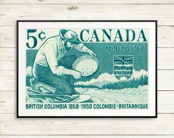 P106 Fine art print: British Columbia, BC Canada, Vancouver Canada, Vancouver BC, gold panning, panning for gold, gold rush, gold hunters