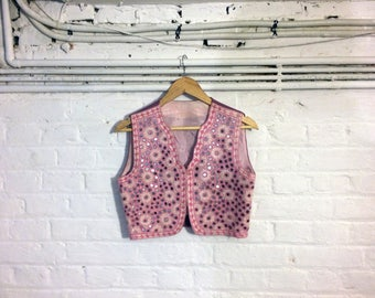1960s Pink Waistcoat Vest with mirror and flower embroidery - Uk 8 Eu 36 Us 6 -  Hippie Boho Bohemian Sixties