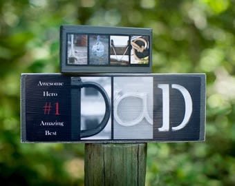 Dad Photo Block - Fathers Photo Sign - Customized Letter Art Dad Sign - Dad Stand Alone Sign - Dad Office Desk Gift -Dad B&W Letter Art